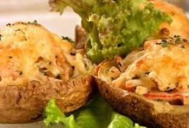 Картофель фаршированный запеченный